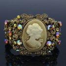 Swarovski Crystal Trendy Vintage Style Brown Flower Relief Bracelet Bangle Cuff
