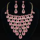 Gentler Dangle Teardrop Necklace Earring Jewelry Sets Rose Swarovski Crystal