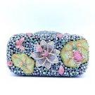 Blue Swarovski Crystal Lotus Butterfly Frog Clutch Evening Bag Purse Handbag