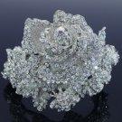 Wedding Bee Flower Rose Bracelet Bangle W/ Clear Rhinestone Crystals Bridal