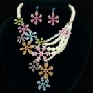 Imitation Pearl Snowflake Necklace Earring Set W/ Multicolor Rhinestone Crystals