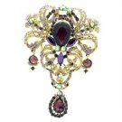 "Chic Purple Flower Pendant Brooch Pin 5.1"" Swarovski Crystals"