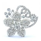 "Flower Drop Brooch Pin 3.5"" Clear Rhinestone Crystals Bridal Bridesmaid Wedding"