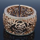 H-Quality Attractive Flower Bracelet Bangle Cuff W/ Clear Swarovski Crystals
