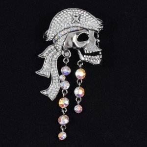 Vintage H-Quality Fabulous Clear Pirate Skull Brooch Pin W/ Swarovski Crystals