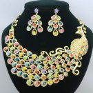 Swarovski Crystals Big Animal Multicolor Peafowl Peacock Necklace Earring Set
