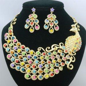 Swarovski Crystals Big Animal Multicolor Peafowl Peacock Necklace Earring Set