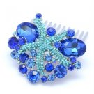 Popular Starfish Hair Comb Tiara W/ Blue Rhinestone Crystals
