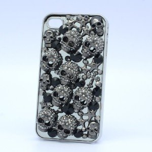 Halloween Crystals Black Multi Starfish Skull Cover Case Shell For Iphone 4/4S