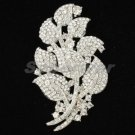 Wedding Clear  Rhinestone Crystals Leaf Flower Brooch Pin 3.3""