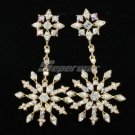H-Quality Pierced Snowflake Earring W/ Clear A/B Swarovski Crystals Wedding