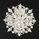 """Bridal Clear Flower Brooch Pin 2.4"""" For Wedding Swarovski Crystals"""