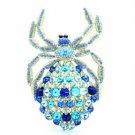 Vintage Style Araneid Spider Brooch Pin W/ Blue Rhinestone Crystals