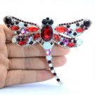 "Vintage Style Dragonfly Brooch Broach Pin 3.7"" Red Rhinestone Crystals"