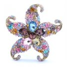"Vogue Starfish Brooch Pin 3.1"" W/ Multicolor Rhinestone Crystals"