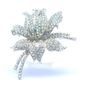 Bride Clear A/B  Swaroski Crystals Rose Flower Brooch Pin 2.36 ""