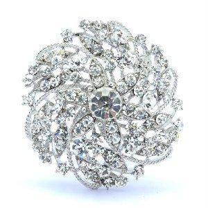 "Bridal Dangle Clear Swaroski Crystals Round Flower Brooch Pin 2.16 """