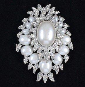 """Bridal Wedding Faux Pearl Flower Brooch Pin 2.9"""" Swarovski Crystals"""