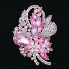"Fashion Pink Swarovski Crystals Flower Brooch Broach Pin 3.5"""