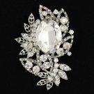 """Bridal Clear Flower Pendant Brooch Broach Pin 2.7"""" W/ Rhinestone Crystals"""