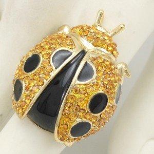 Brown Ladybird Ladybug Cocktail Ring 6# W/ Swarovski Crystals