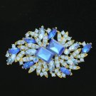 "Rhinestone Crysta Hot Pretty Blue Fashion Flower Brooch Pin 3.7"" Vintage Style"