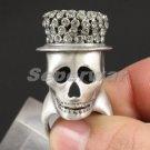 Swarovski Crystals Gray Hat Skull Cocktail Ring 8# For Halloween