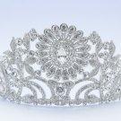 High Quality Bride Bridal Clear Flower Tiara Crown w Swarovski Crystals JH8579