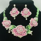 Ideal Fancy Pink Rose Flower Necklace Earring Sets W/ Swarovski Crystals