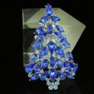Swarovski Crystals New Blue Christmas Tree Brooch Broach Pin