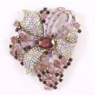 "Swarovski Crystals Pretty Vogue Leaf Purple Flower Brooch Pin 3.5"""
