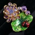 Swarovski Crystals Cute Ladybug Purple Lotus Leaf Cocktail Ring 7#