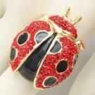 H-Quality Red Ladybird Ladybug Cocktail Ring 8# W/ Swarovski Crystals