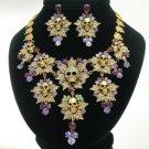 Swarovski Crystals Purple Multi Leaves Skull Necklace Earring Set For Halloween