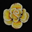 Rhinestone Crystals Big Yellow Flower Rose Brooch Pin 3.9""