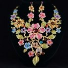 High Quality Big Excellant Leaf Flower Necklace Earring Set Swarovski Crystal