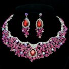 Fuchsia Rhinestone Crystal Teardrop Flower Necklace Earring Jewelry Sets 02162