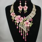 Gorgeous High Quality Pink Flower Necklace Earring Set w/ Swarovski Crystals