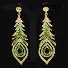 New Green Feather Pierced Earring w/ Swarovski Crystals