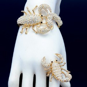 Rhinestone Crystal Gold Tone Scorpion Bracelet Bangle Scorpion Cocktail Ring Set