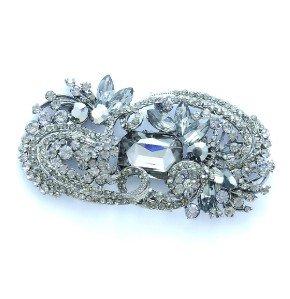 """4.1"""" Gray Flower Brooch Broach Pin W/ Rhinestone Crystals"""