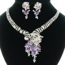 New Swarovski Crystals High Quality Tiger Necklace Earring Set W/ Purple Zircon