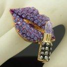 Swarovski Crystals Purple Lipstick Lip Cocktail Ring Adjustable Gold Tone