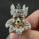 Halloween Crown Gold Skull Cocktail Ring 9# Swarovski Crystals
