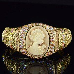 Vintage Style Brown Relief Bracelet Bangle Cuff W/ Swarovski Crystals