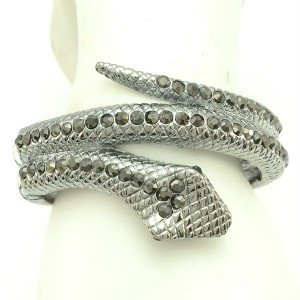 Vogue Serpent Snake Bracelet Bangle Cuff W/ Gray A/B Swarovski Crystals