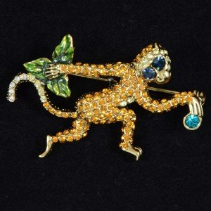 Vintage Style High Quality Wild Brown Monkey Brooch Pin W/ Swarovski Crystals
