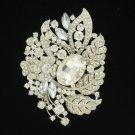 "Clear Swarovski Crystals Vogue Flower Leaf Brooch Pin 3.9"""