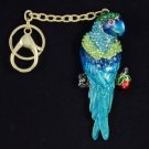 Exquisite Blue Swarovski Crystals Bird Parrot Key Chain Charm