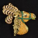 "High Quality Yellow Feather Animal Horse Brooch Pin 2.8"" Swarovski Crystals"